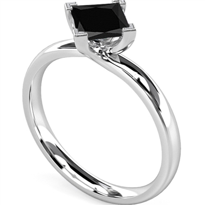 Princess Black Diamond Solitaire Ring DHMTSS839BLK Image