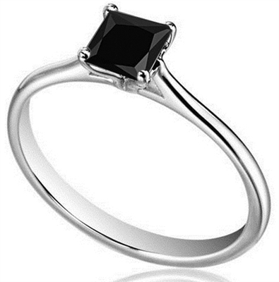 Princess Black Diamond Solitaire Ring DHDOMR1141BLK Image