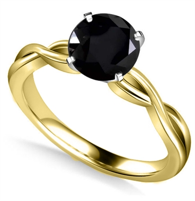 Round Black Diamond Solitaire Ring DHAN514RDBLK Image