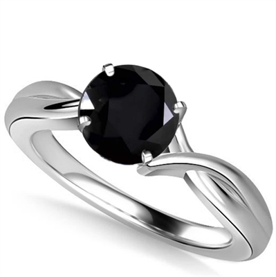 Round Black Diamond Solitaire Ring DHAN516RDBLK Image