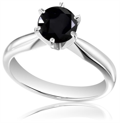 Round Black Diamond Solitaire Ring DHDOMM66B1BLK Image
