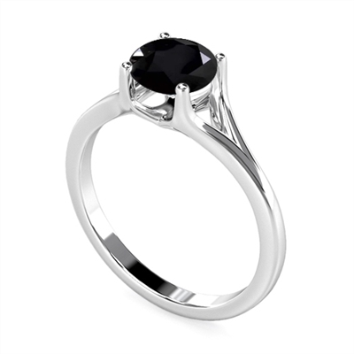 Round Black Diamond Solitaire Ring DHDOMR1143BLK Image