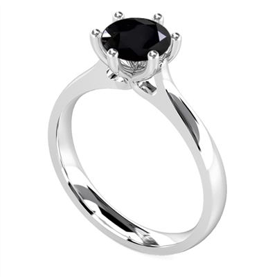 Round Black Diamond Solitaire Ring DHDOMR1144BLK Image