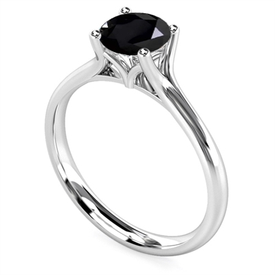 Round Black Diamond Solitaire Ring DHDOMR11025BLK Image