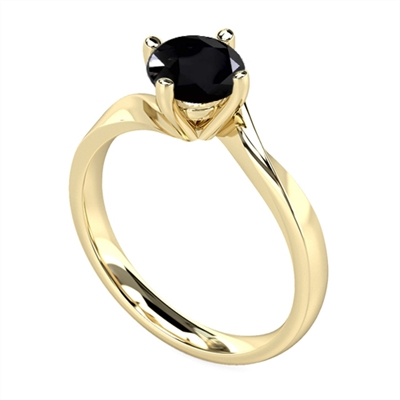 Round Black Diamond Solitaire Ring DHDOMR11027BLK Image
