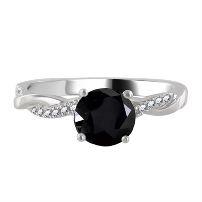 Round Black Diamond Shoulder Set Ring DHRX8504BLK Image