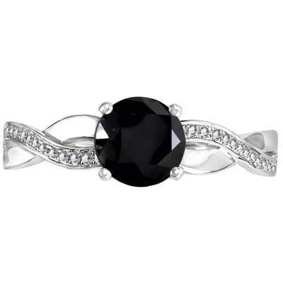 Round Black Diamond Shoulder Set Ring DHDOMDSR64BLK Image