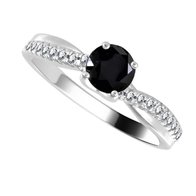 Round Black Diamond Shoulder Set Ring DHDOMR11218BLK Image