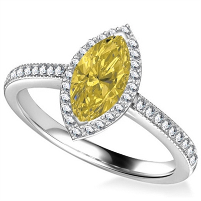 Fancy Yellow Marquise Diamond Single Halo Shoulder Set Ring DHAN561YD Image