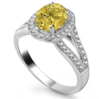 Fancy Yellow Oval Diamond Shoulder Set Ring DHRX4216YD Image