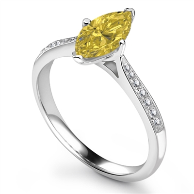 Fancy Yellow Marquise Diamond Shoulder Set Ring DHRX4671YD Image