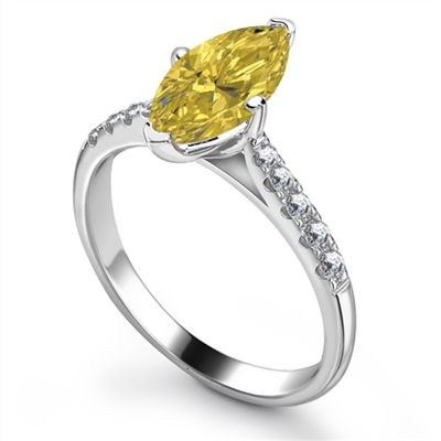 Fancy Yellow Marquise Diamond Shoulder Set Ring DHRX3493YD Image