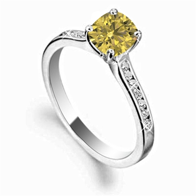 Fancy Yellow Cushion Diamond Shoulder Set Ring DHDOMR1138CUYD Image