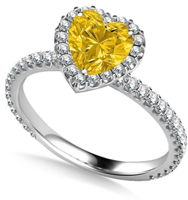 Yellow Heart Shaped Diamond Single Halo Shoulder Set Ring DHAN519YD Image