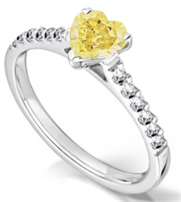 Fancy Yellow Heart Diamond Shoulder Set Ring DHMTSS1049YD Image