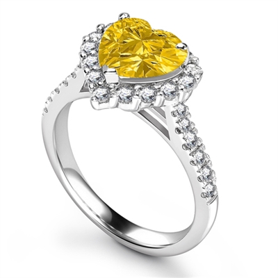 Yellow Heart Shaped Diamond Single Halo Shoulder Set Ring DHRX5247YD Image