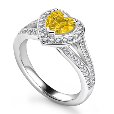 Fancy Yellow Pear Diamond Single Halo Infinity Style Ring DHRX6459YD Image