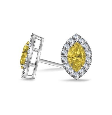 Fancy Yellow Marquise Diamond Halo Earrings DHAN604YD Image