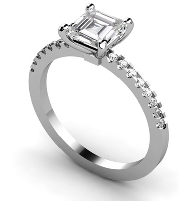 Asscher Diamond Shoulder Set Ring DHMTSS899AS Image