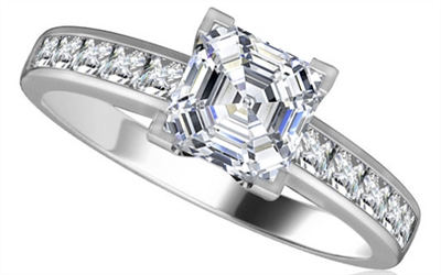 Asscher Diamond Shoulder Set Ring DHRZ0052AS Image