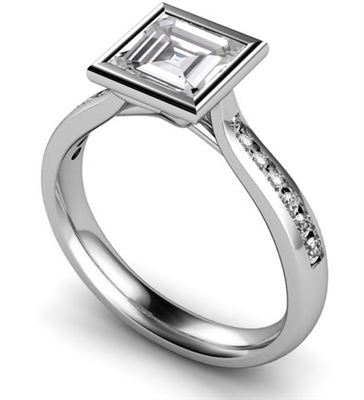 Asscher Diamond Shoulder Set Ring DHMTSS886AS Image