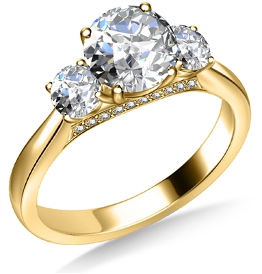 Unique 3 Stone Diamond Ring  DHAN621 Image