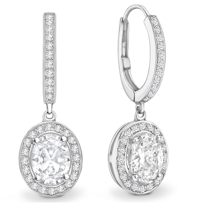 Unique Oval Diamond Drop EarringS DHEX7507 Image