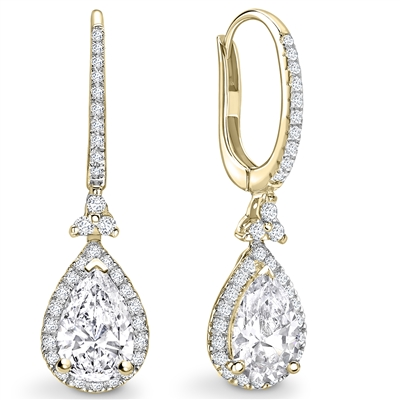 Unique Pear Diamond Drop Earrings DHEX7513 Image