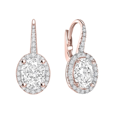 Unique Oval Diamond Drop EarringS DHEX8217 Image