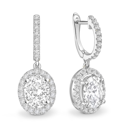 Unique Oval Diamond Drop EarringS DHEX8387 Image