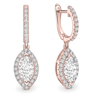 Unique Marquise Diamond Drop Earrings DHEX8390 Image