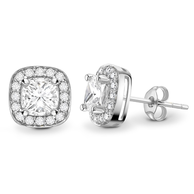 Cushion Diamond Single Halo Earrings DHEX8532 Image