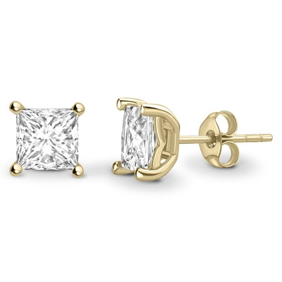 Four Corner Claw Princess Diamond Earrings DHEX8730 Image
