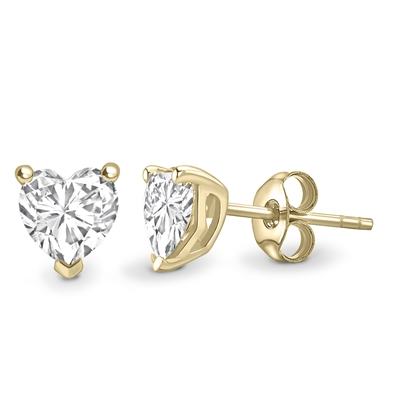 Three Claw Heart Shape Diamond Stud Earrings DHEX8740 Image