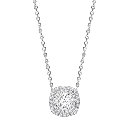 Cushion Shaped Diamond Single Halo Pendant DHPX4612 Image