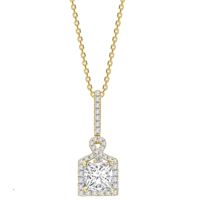 Princess Diamond Single Halo Pendant DHPX7548 Image