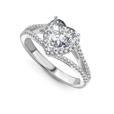 Heart Diamond Single Halo Shoulder Set Ring DHRX7128 Image