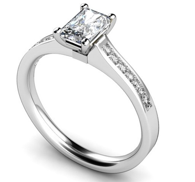 Radiant Diamond Shoulder Set Ring DHMTSS718 Image