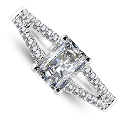 Radiant Diamond Shoulder Set Ring DHRX4509 Image