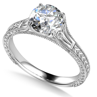 Unique Single Round Diamond Vintage Filgree Style Ring DHAN704 Image