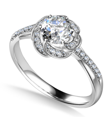 Floral Halo Round Diamond Infinity Ring DHAN705 Image
