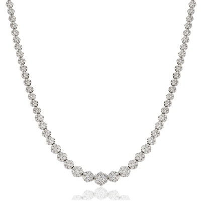 Elegant Round Diamond Cluster Tennis Necklace DHLMJXYN0689 Image