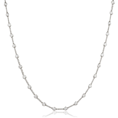 Elegant Round Diamond Cluster Tennis Necklace DHLMJBJN0044 Image