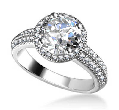 Round Diamond Single Halo Shoulder Set Ring DHAN567 Image