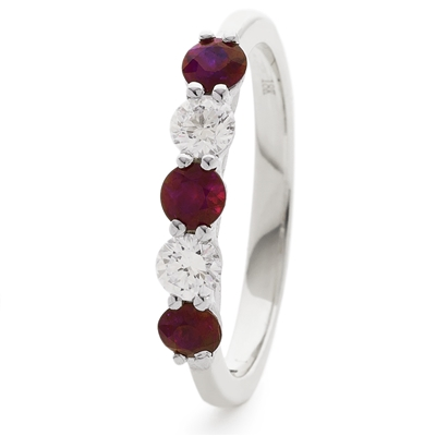 1.10CT Red Ruby and Diamond Eternity Ring DHLMJXYR6747RY Image
