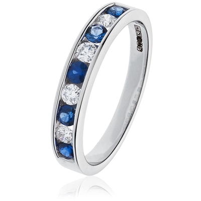 0.90CT Blue Sapphire and Diamond Eternity Ring DHLMJBJR0132BS Image