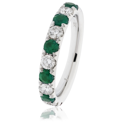 1.10CT Green Emerald and Diamond Eternity Ring DHLMJXYR11331EM Image