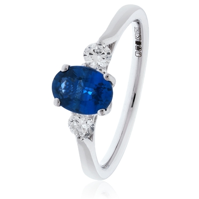 1.80CT Oval Blue Sapphire & Diamond Trilogy Ring DHLMJSL7687BSC Image