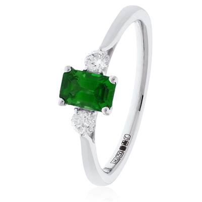 0.70CT Green Emerald & Diamond Trilogy Ring DHLMJSL7688EMC Image