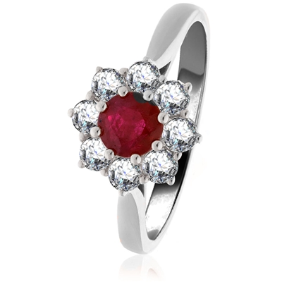 0.65ct Ruby & Diamond Cluster Ring DHLMJBJR0435RYC Image
